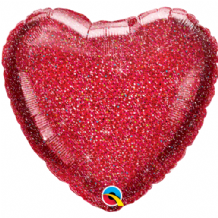 "Red Glittergraphic Foil Balloon (18"" Heart) 1pc"